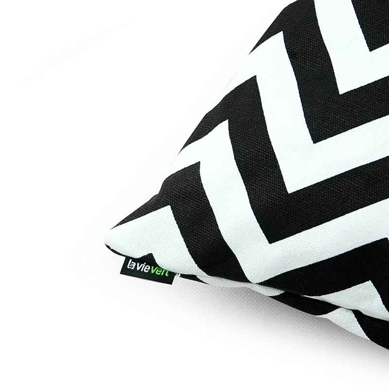 White Black Chevron Stripe Pillowcase 16""