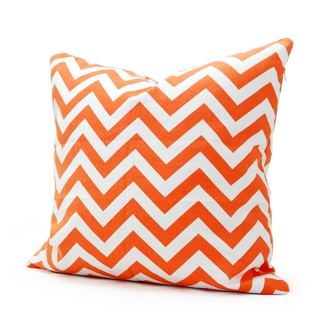 White Orange Chevron Stripe Pillowcase 16""